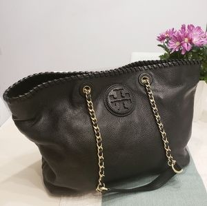 Tory Burch Marion Black Leather Tote